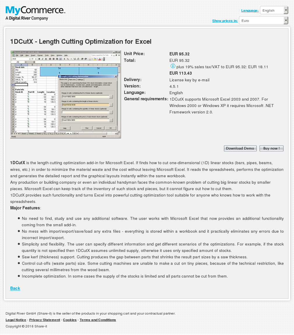 Dcutx Length Cutting Optimization Excel Features