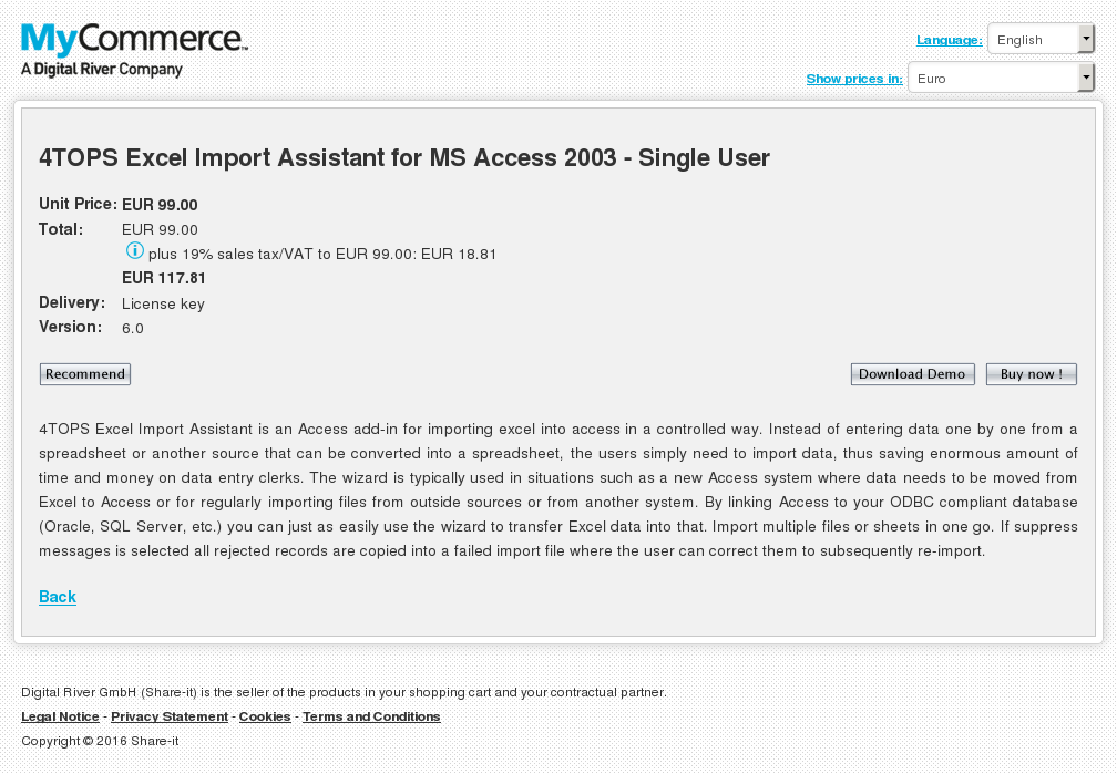 Tops Excel Import Assistant Access Single User Free