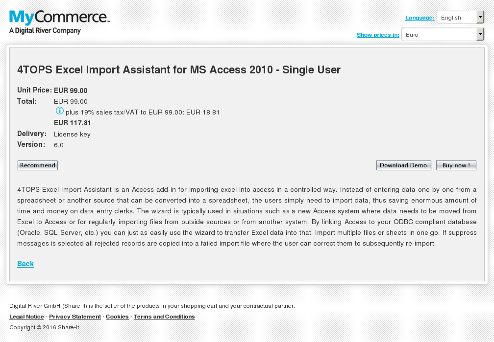Tops Excel Import Assistant Access Single User Features
