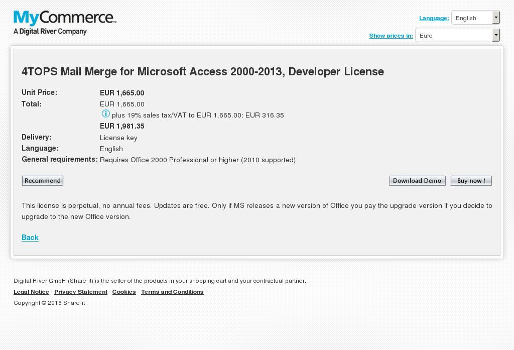 Tops Mail Merge Microsoft Access Developer License Features