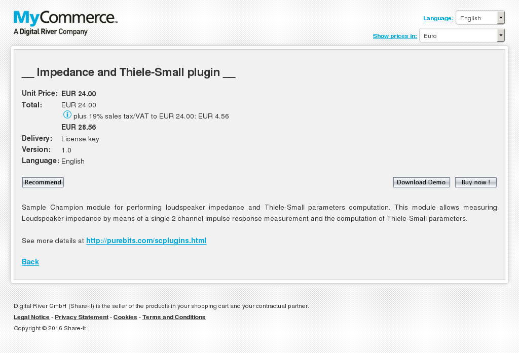 Impedance Thiele Small Plugin Howto