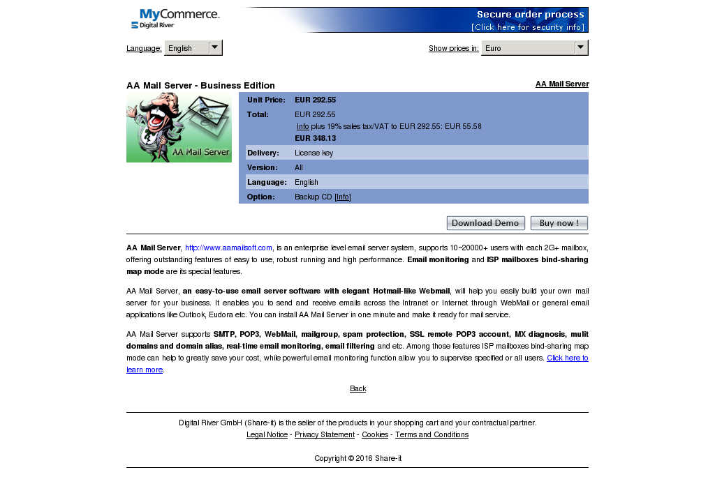 Mail Server Business Edition Key Information