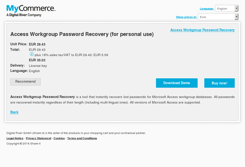 Access Workgroup Password Recovery Personal Use Howto