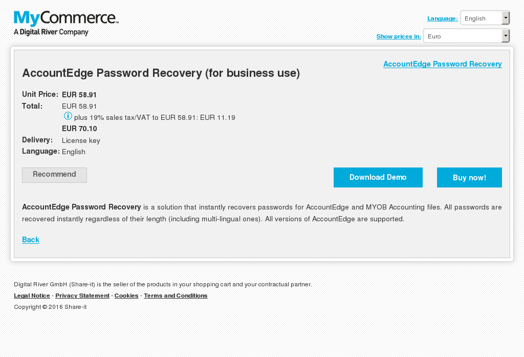 Accountedge Password Recovery Business Use Review
