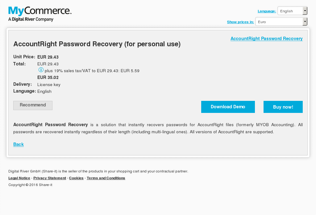 Accountright Password Recovery Personal Use Free