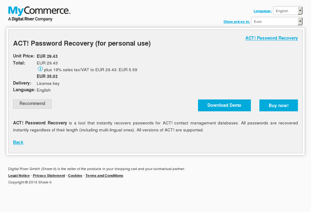 Act Password Recovery Personal Use Free