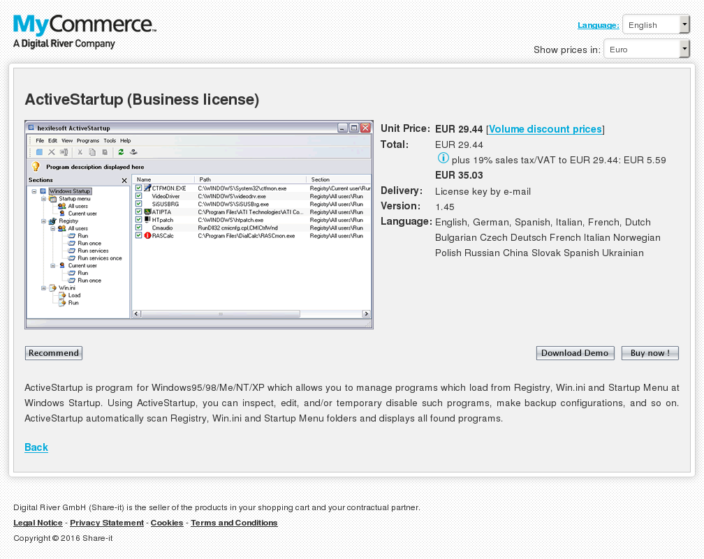 Activestartup Business License Features