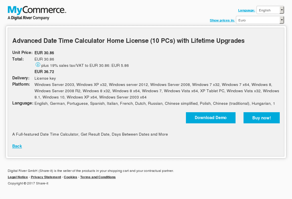 Advanced Date Time Calculator Home License Pcs With Lifetime Upgrades Features