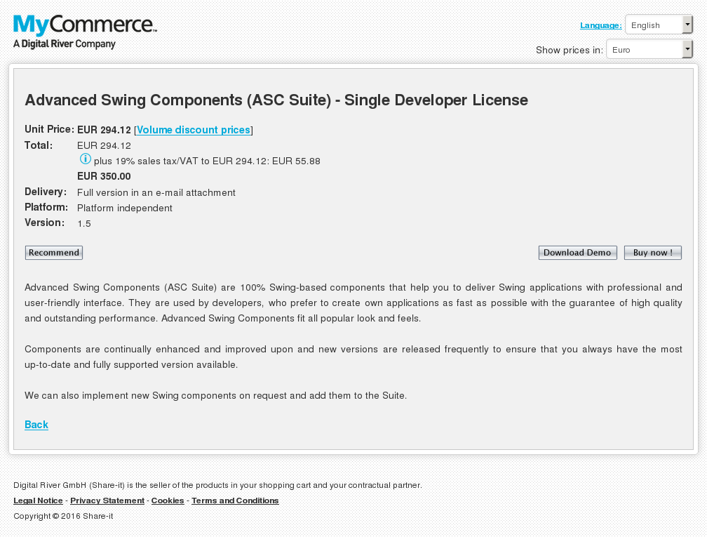Advanced Swing Components Asc Suite Single Developer License