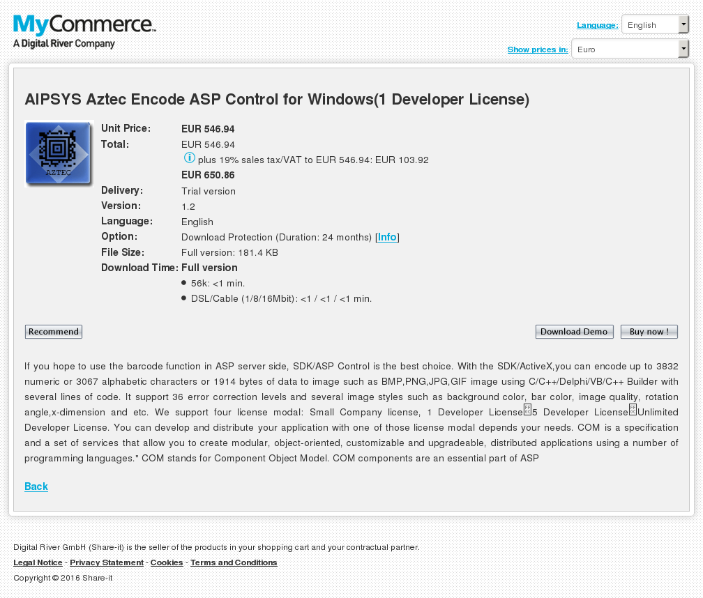 Aipsys Aztec Encode Asp Control Windows Unlimited Developer License Review