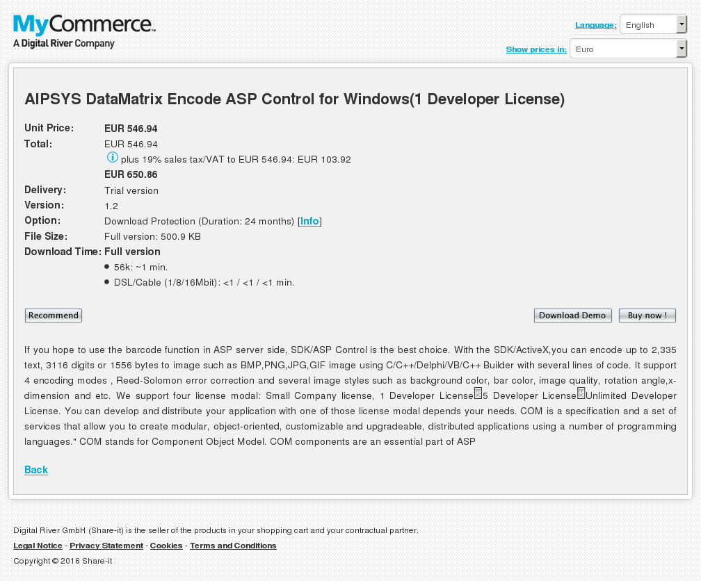 Aipsys Datamatrix Encode Asp Control Windows Developer License Features