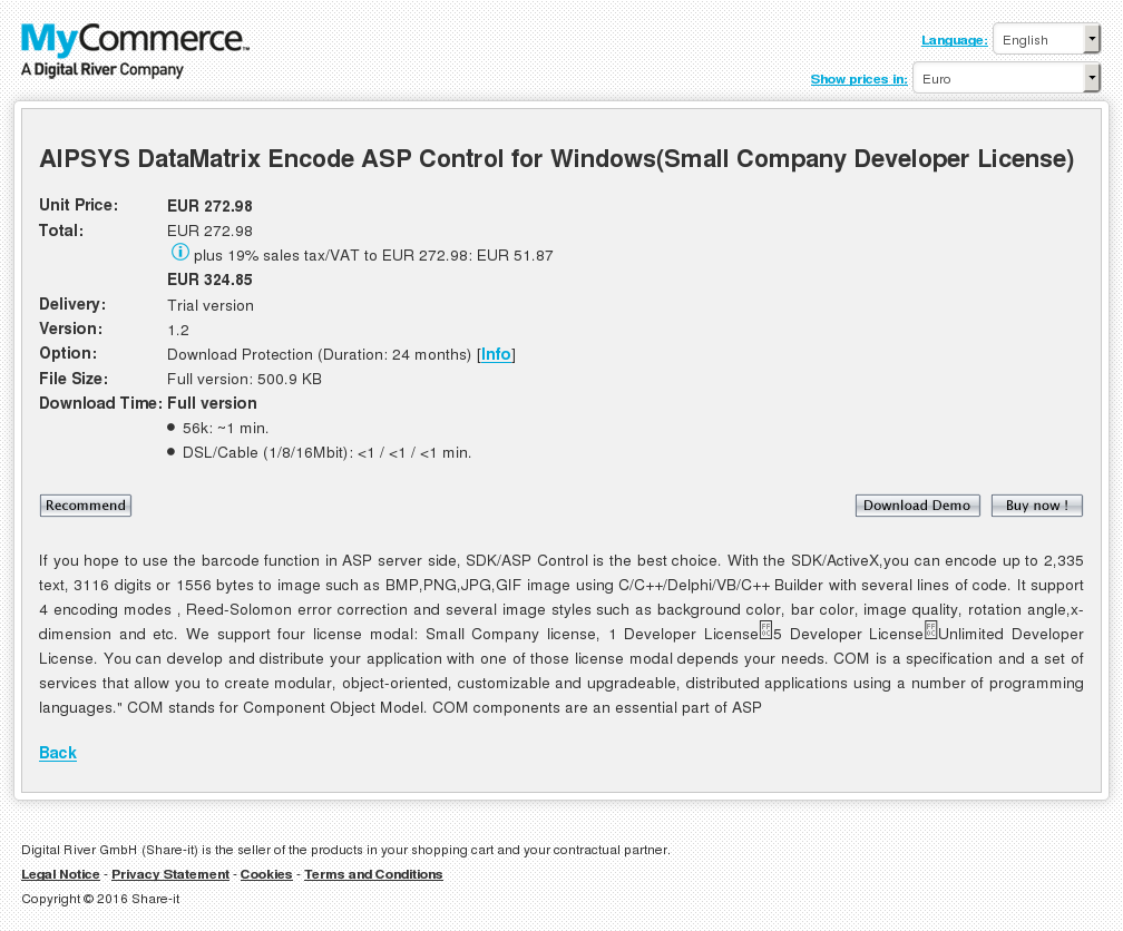 Aipsys Datamatrix Encode Asp Control Windows Small Company Developer License Download