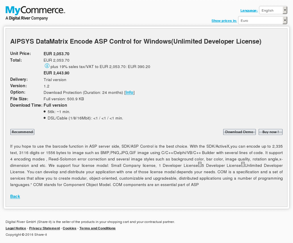 Aipsys Datamatrix Encode Asp Control Windows Unlimited Developer License Download
