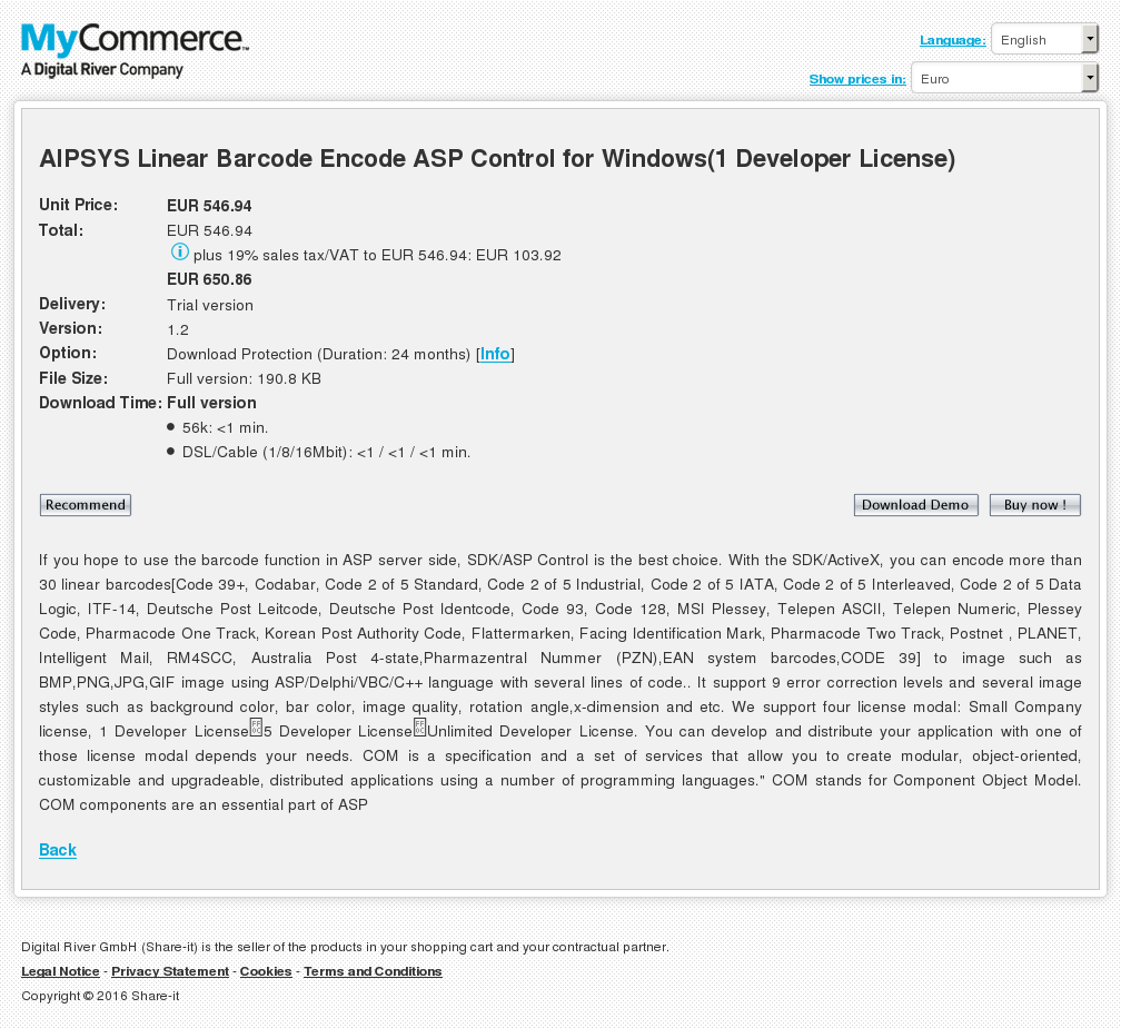 Aipsys Linear Barcode Encode Asp Control Windows Developer License Features
