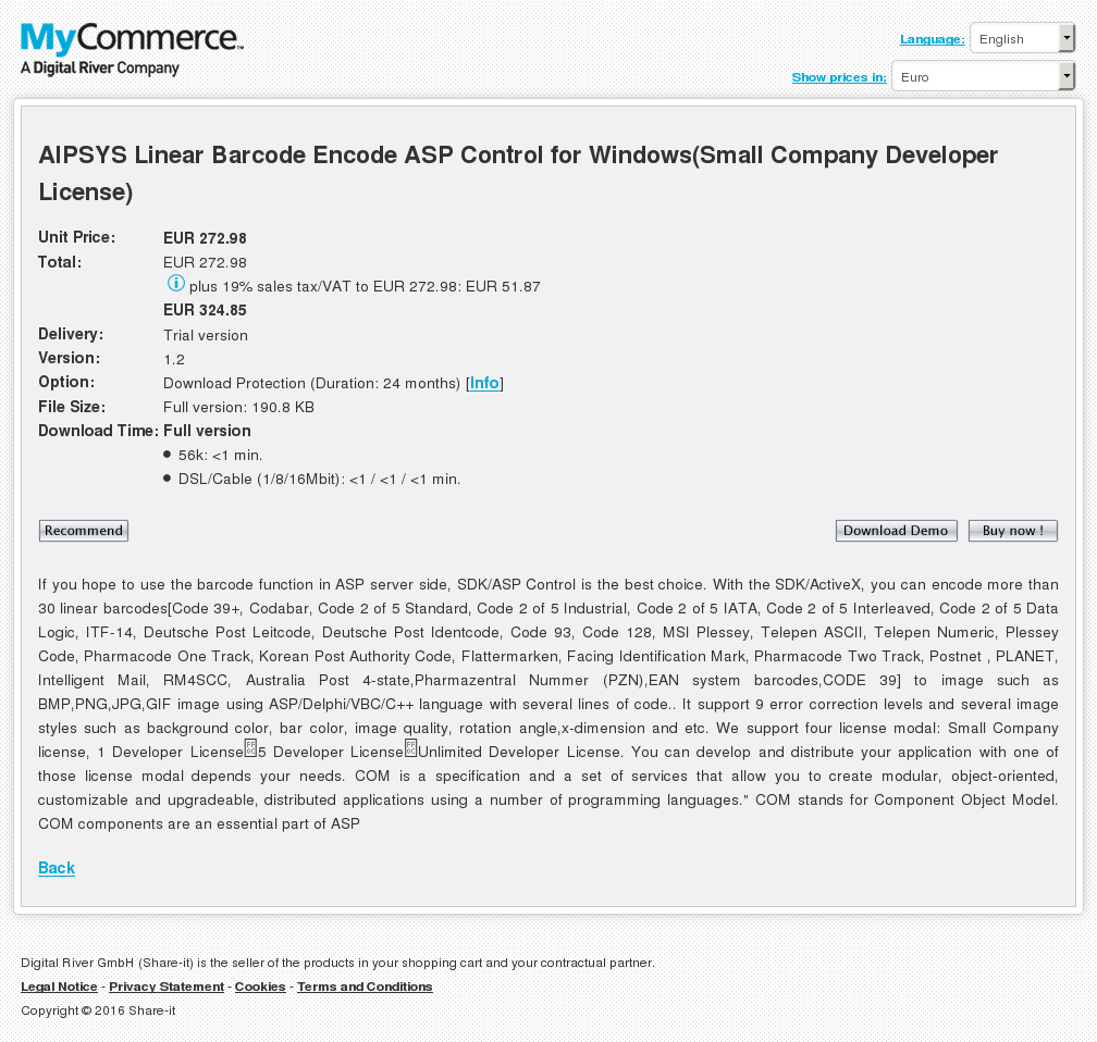Aipsys Linear Barcode Encode Asp Control Windows Small Company Developer License Features