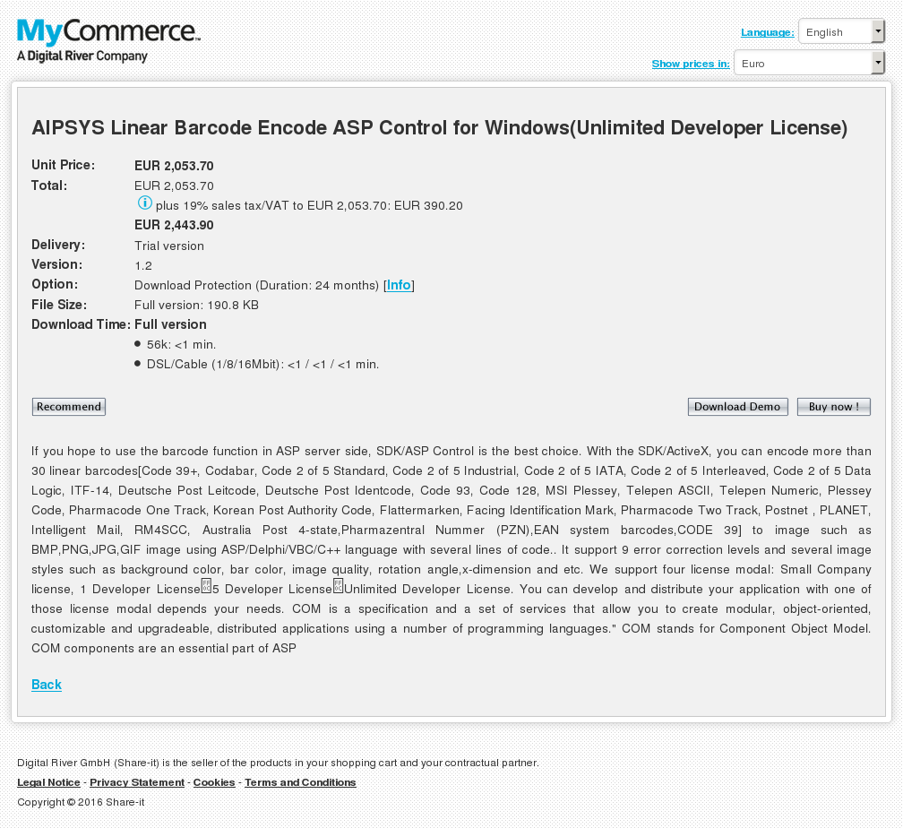 Aipsys Linear Barcode Encode Asp Control Windows Unlimited Developer License Features