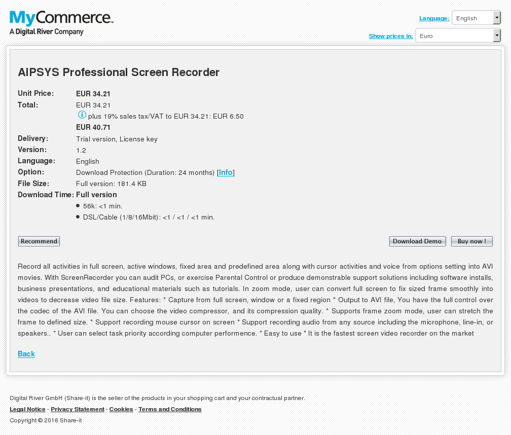 Aipsys Professional Screen Recorder Features