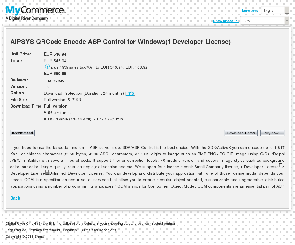 Aipsys Qrcode Encode Asp Control Windows Developer License Free