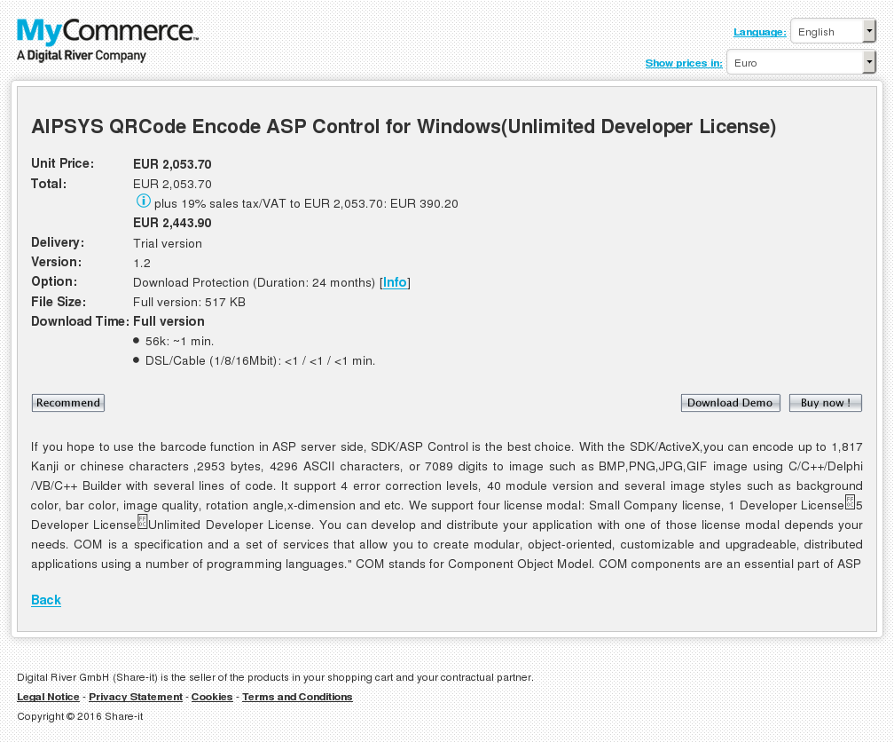 Aipsys Qrcode Encode Asp Control Windows Unlimited Developer License Free