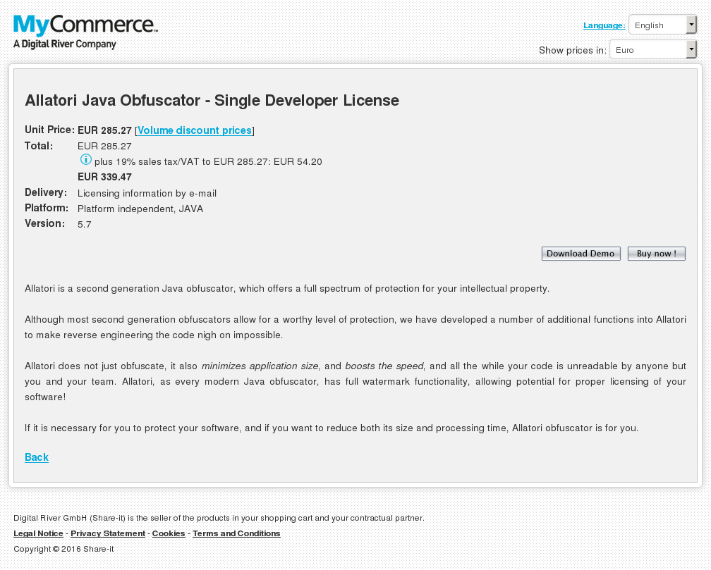 Allatori Java Obfuscator Single Developer License