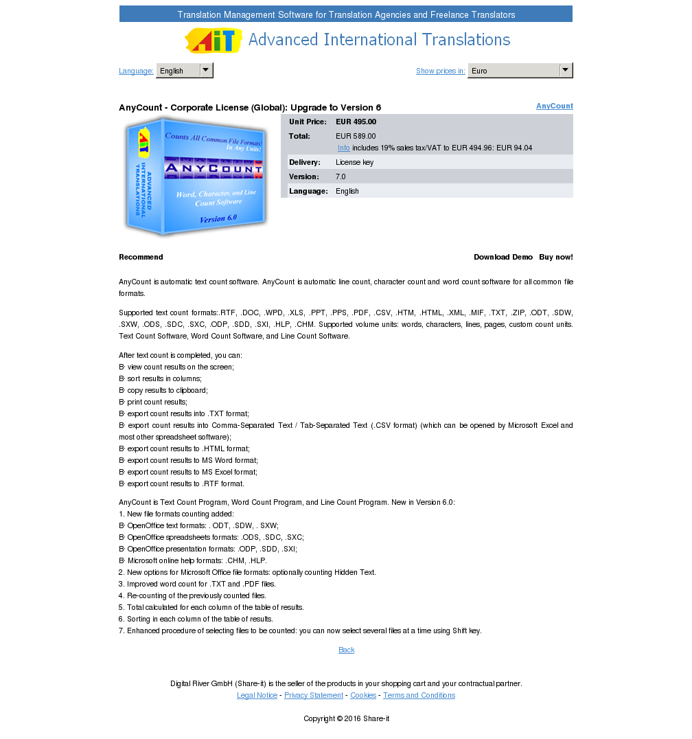 Anycount Corporate License Global Upgrade Version Key Information