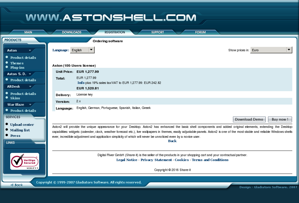 Aston Users License Features
