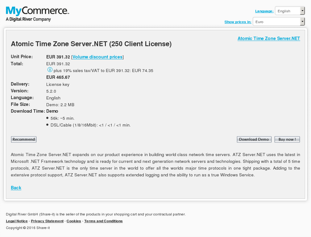 Atomic Time Zone Server Net Client License Features