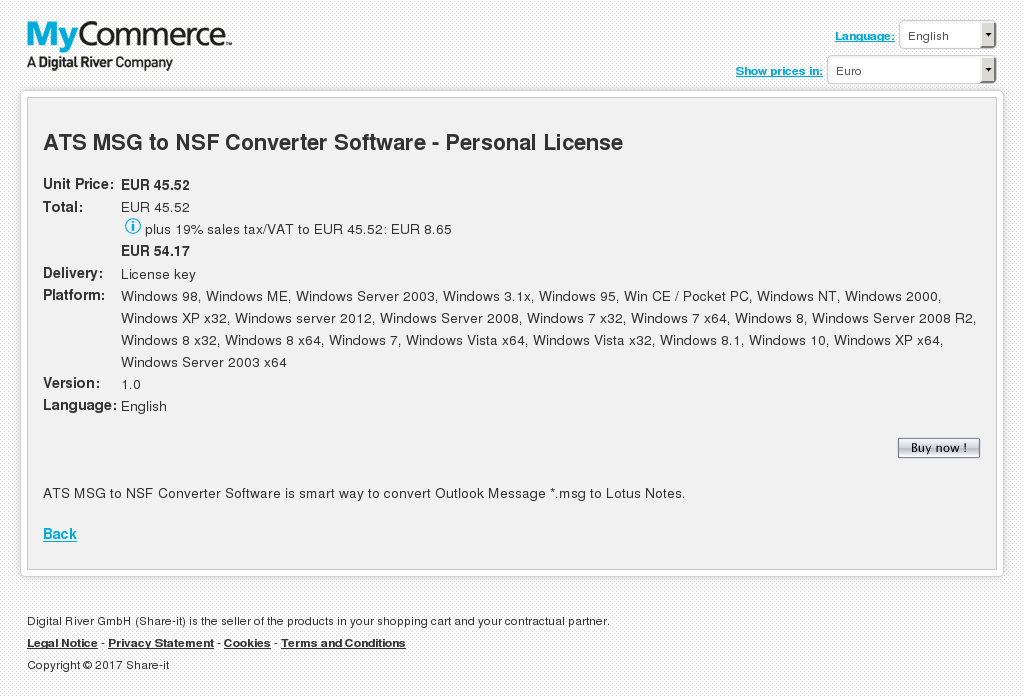 Ats Msg Nsf Converter Software Personal License Key Information