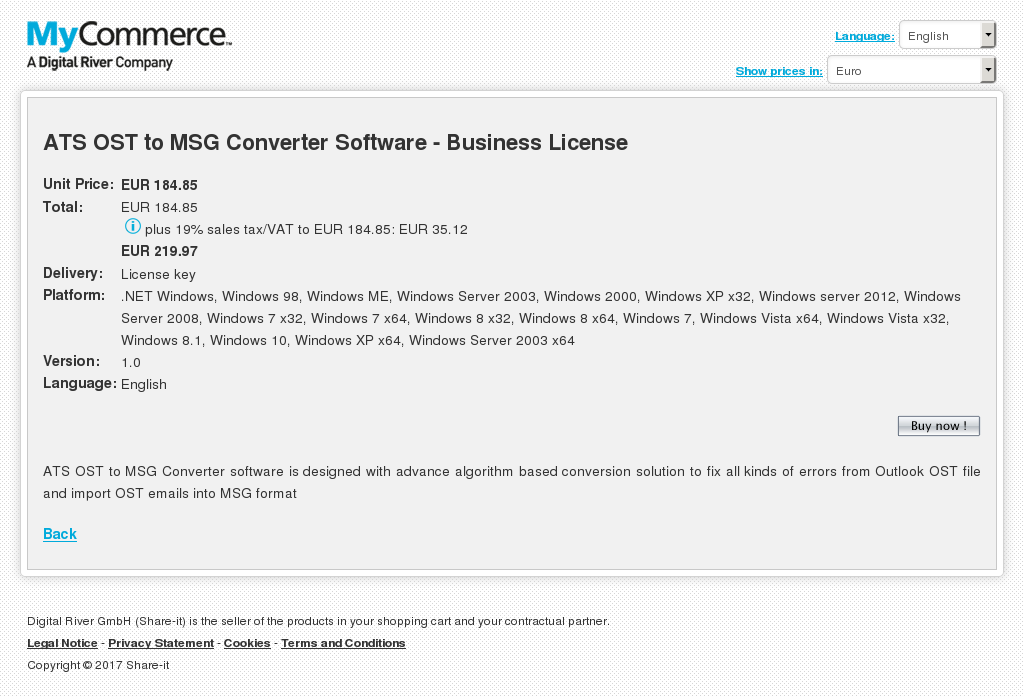 Ats Ost Msg Converter Software Business License Features