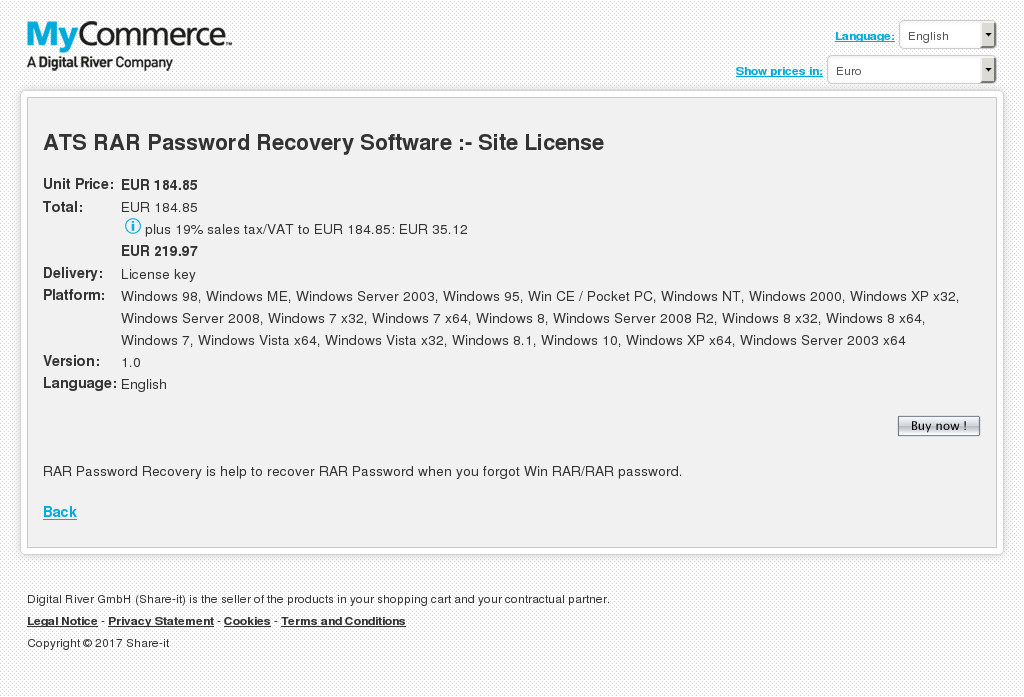 Ats Rar Password Recovery Software Site License Features