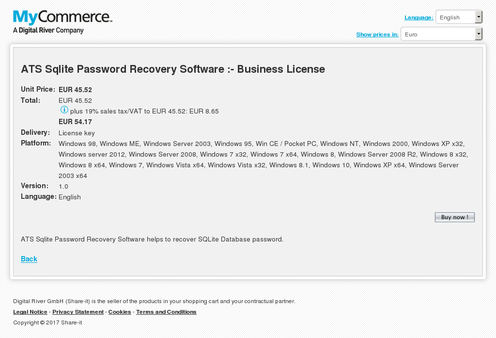 Ats Sqlite Password Recovery Software Business License Key Information