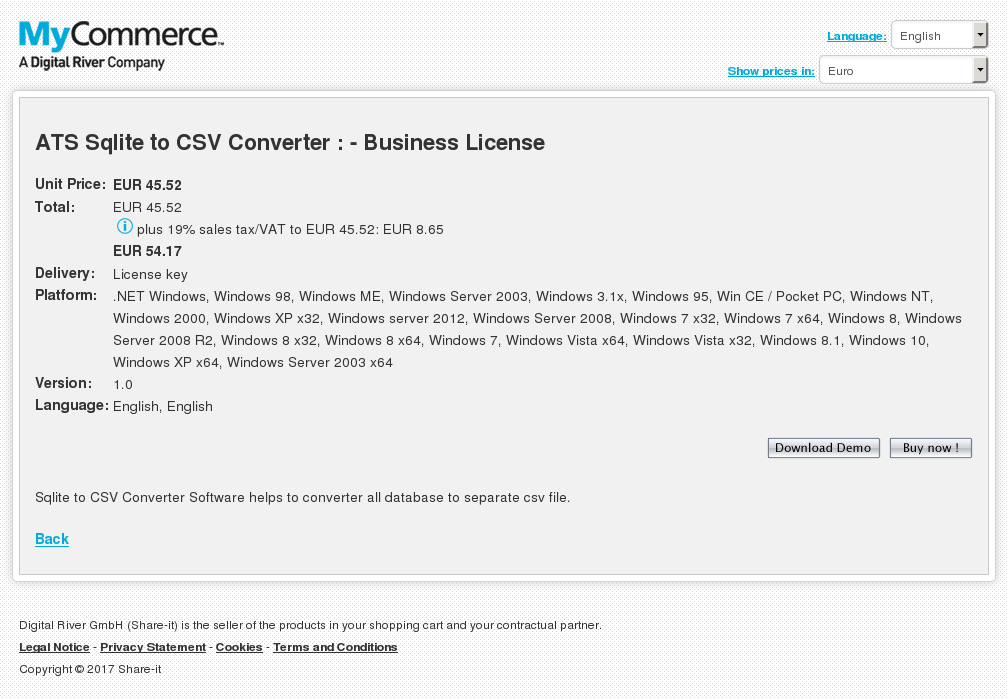 Ats Sqlite Csv Converter Business License Alternative