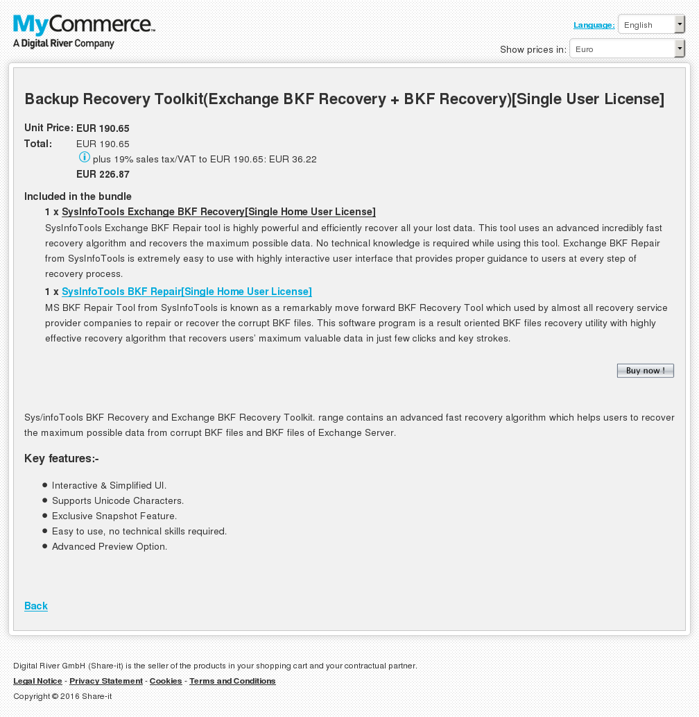 Backup Recovery Toolkit Exchange Bkf Single User License Key Information