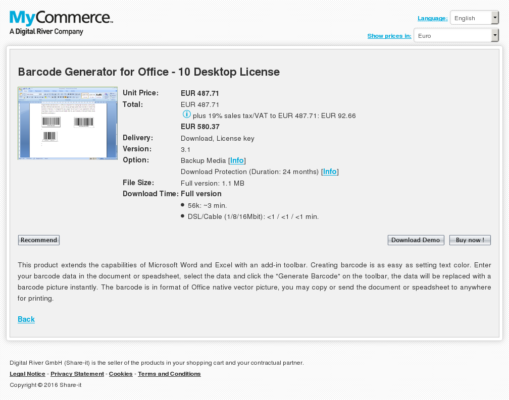 Barcode Generator Office Desktop License Features