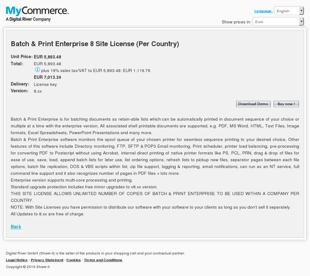 Batch Print Enterprise Site License Per Country Alternative