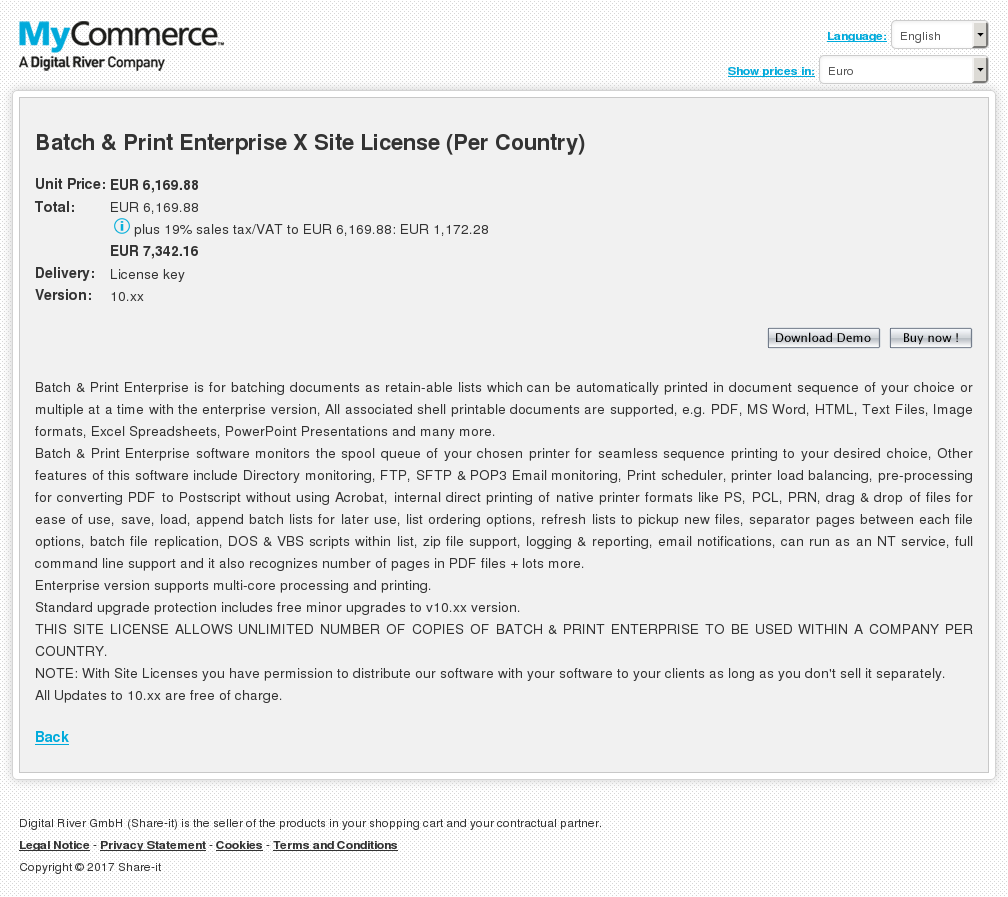 Batch Print Enterprise Site License Per Country Key Information