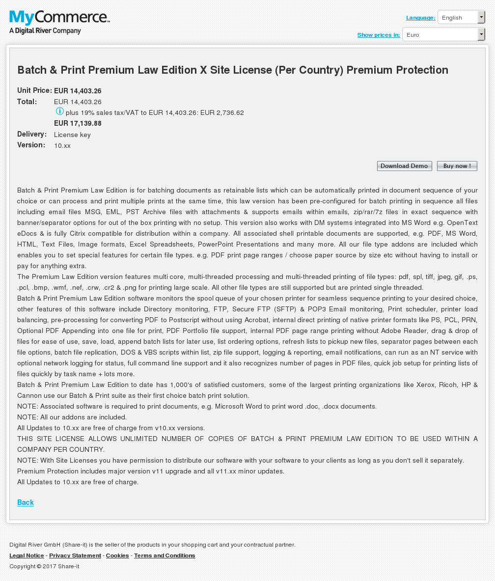 Batch Print Premium Law Edition Site License Per Country Protection Download
