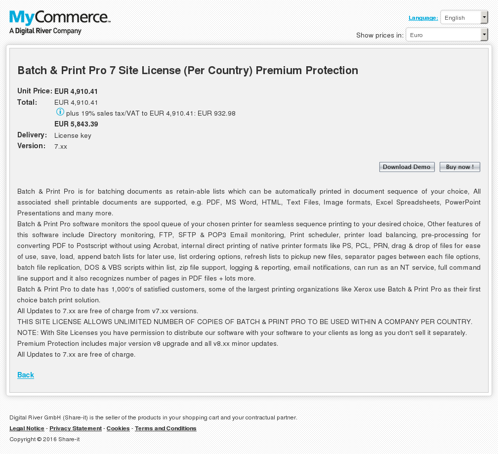 Batch Print Pro Site License Per Country Premium Protection Features