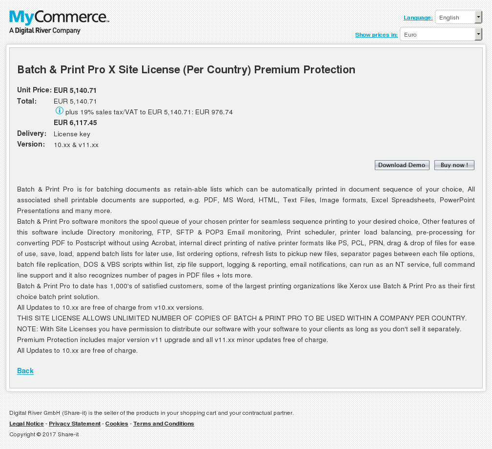 Batch Print Pro Site License Per Country Premium Protection Key Information