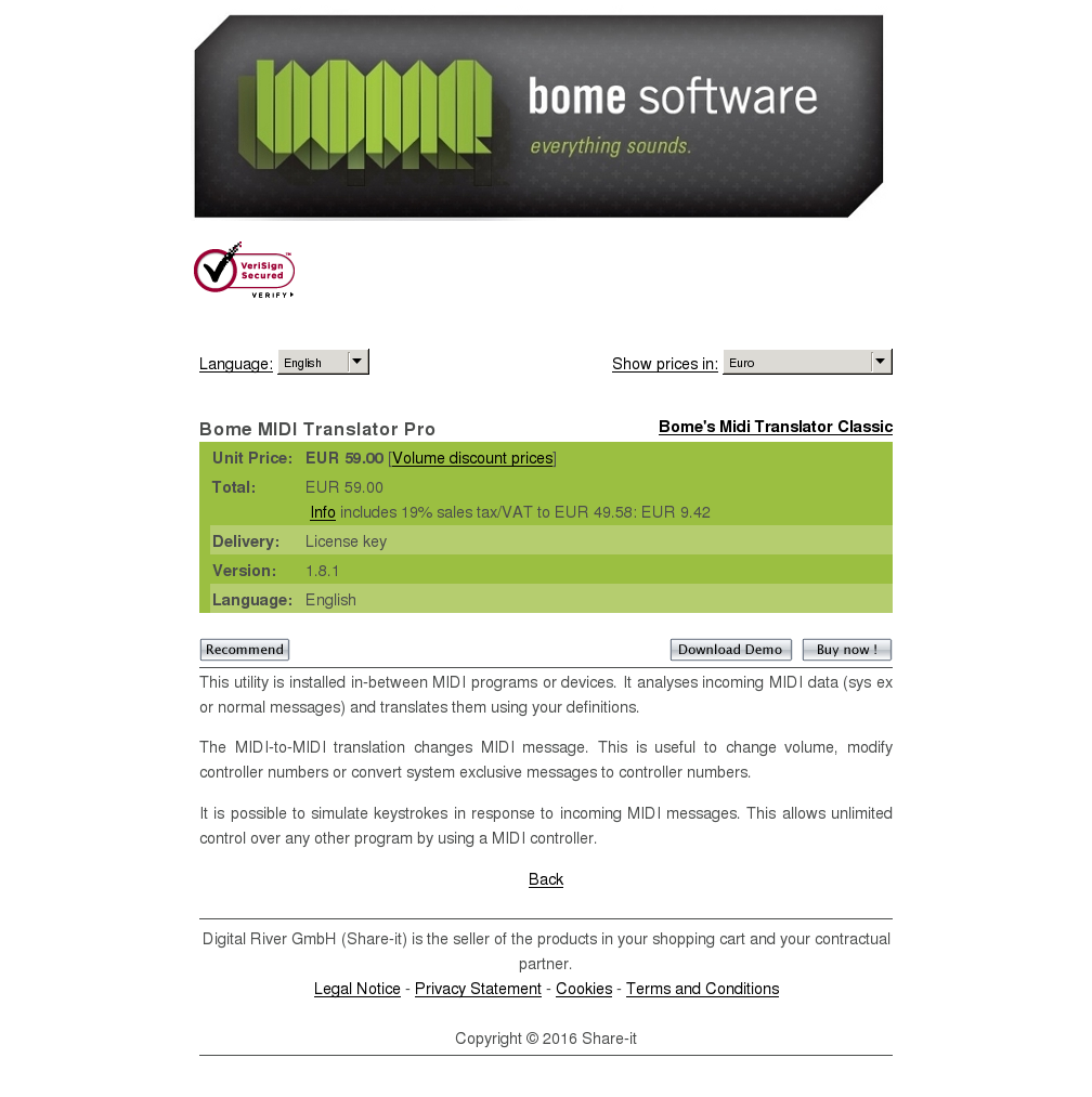 Bome Midi Translator Pro Key Information