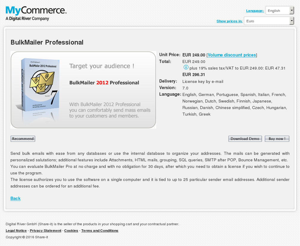 Bulkmailer Professional Features