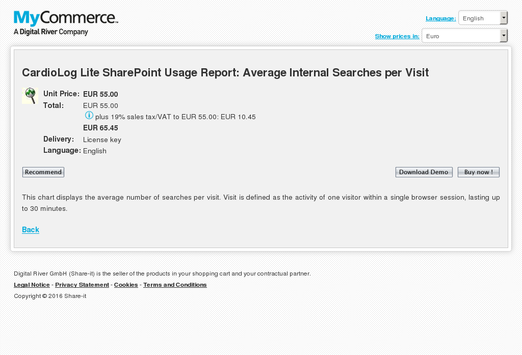Cardiolog Lite Sharepoint Usage Report Average Internal Searches Per Visit Features