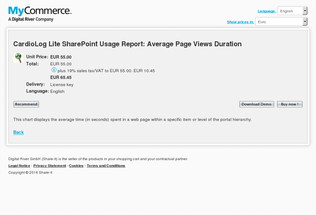 Cardiolog Lite Sharepoint Usage Report Average Page Views Duration Features