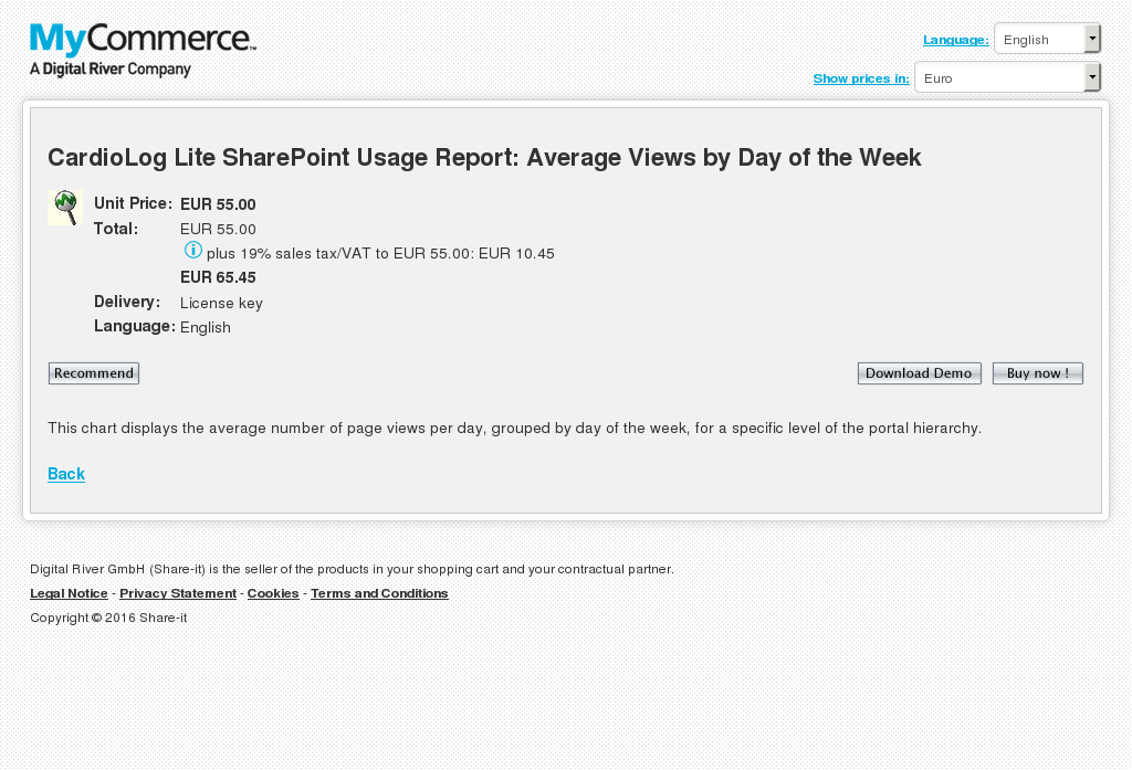 Cardiolog Lite Sharepoint Usage Report Average Views Day Week Features