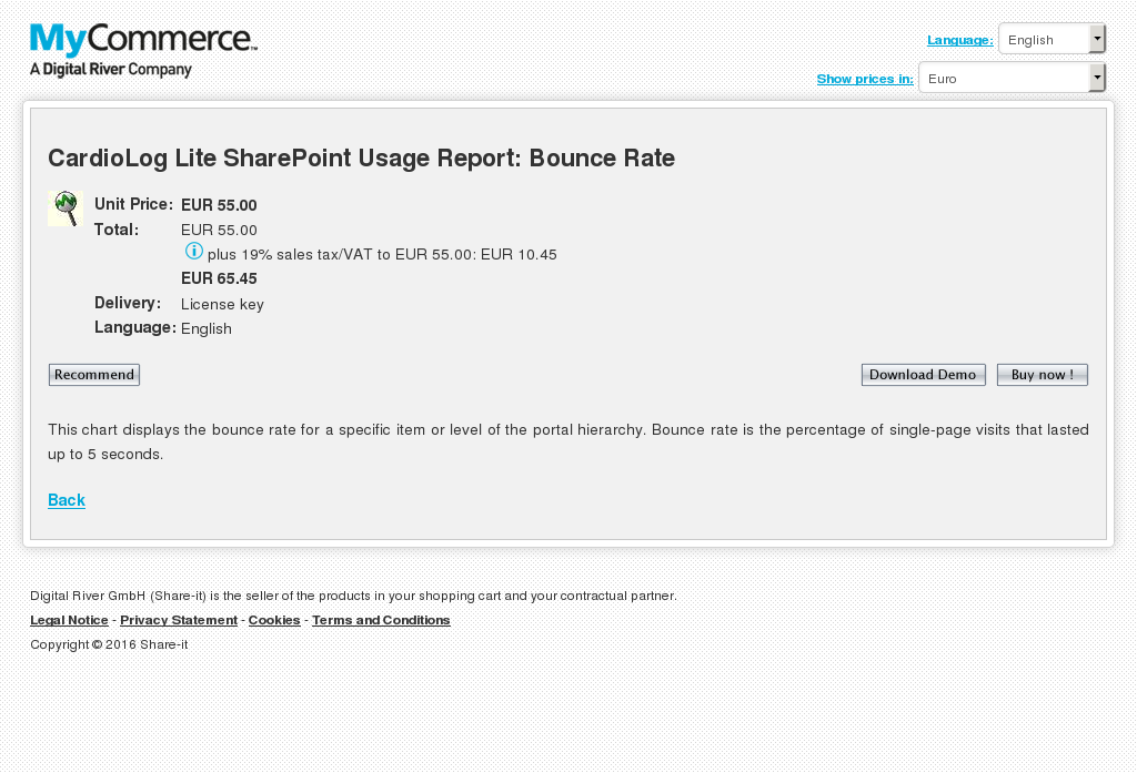 Cardiolog Lite Sharepoint Usage Report Bounce Rate Download