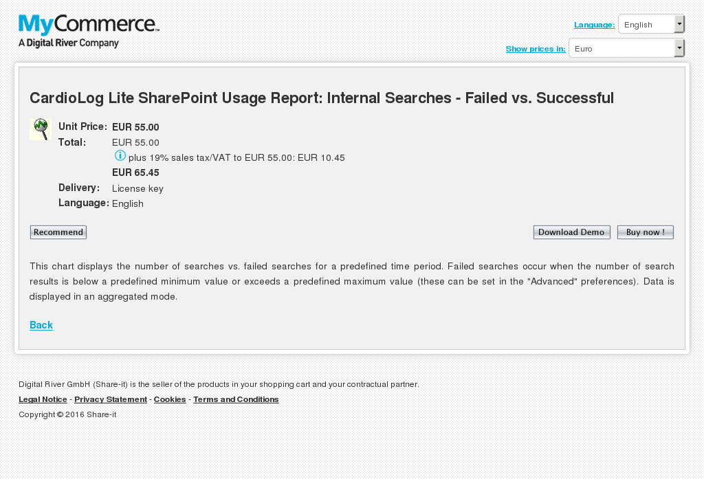 Cardiolog Lite Sharepoint Usage Report Internal Searches Failed Successful Features
