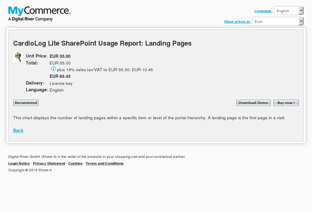 Cardiolog Lite Sharepoint Usage Report Landing Pages Features