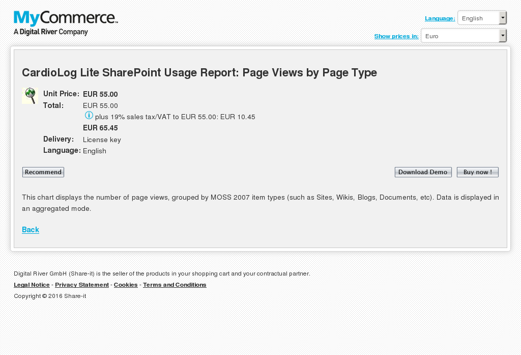 Cardiolog Lite Sharepoint Usage Report Page Views Type Features