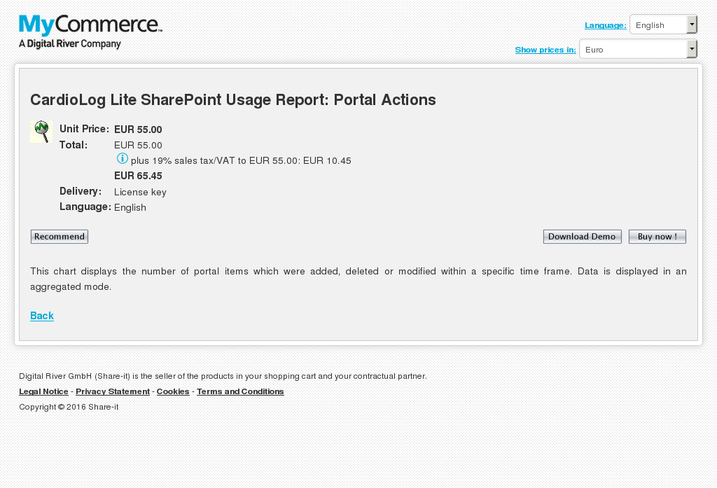 Cardiolog Lite Sharepoint Usage Report Portal Actions Key Information