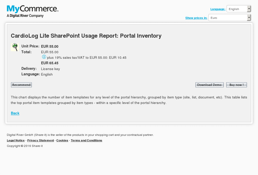 Cardiolog Lite Sharepoint Usage Report Portal Inventory Features